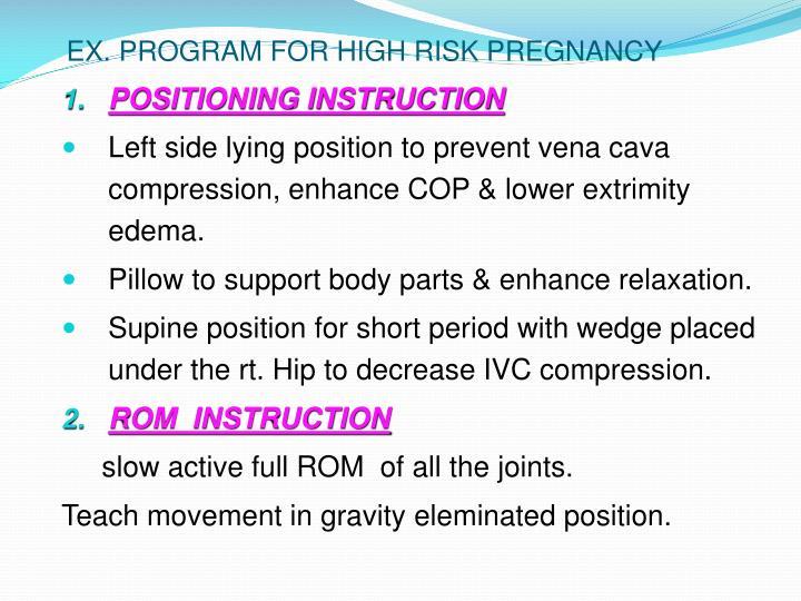 EX. PROGRAM FOR HIGH RISK PREGNANCY