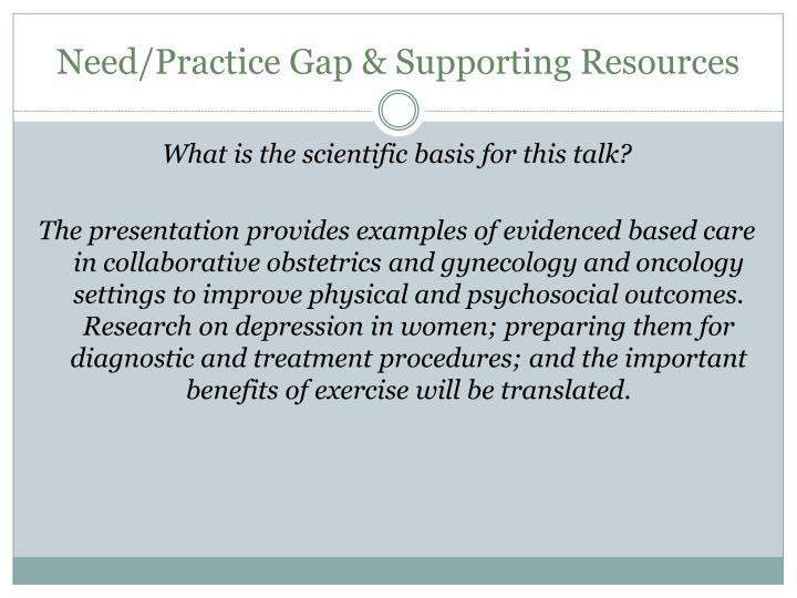 Need/Practice Gap & Supporting Resources
