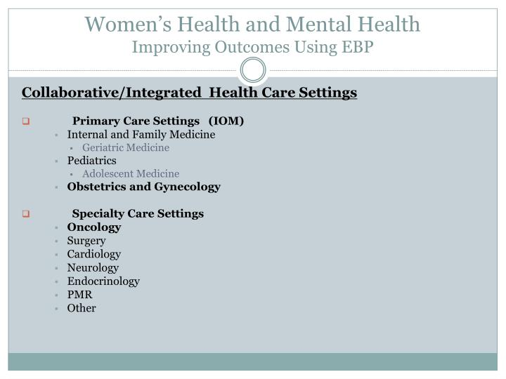Women's Health and Mental Health