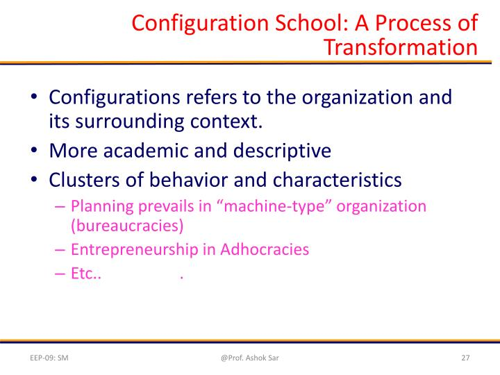 Configuration School: A Process of Transformation