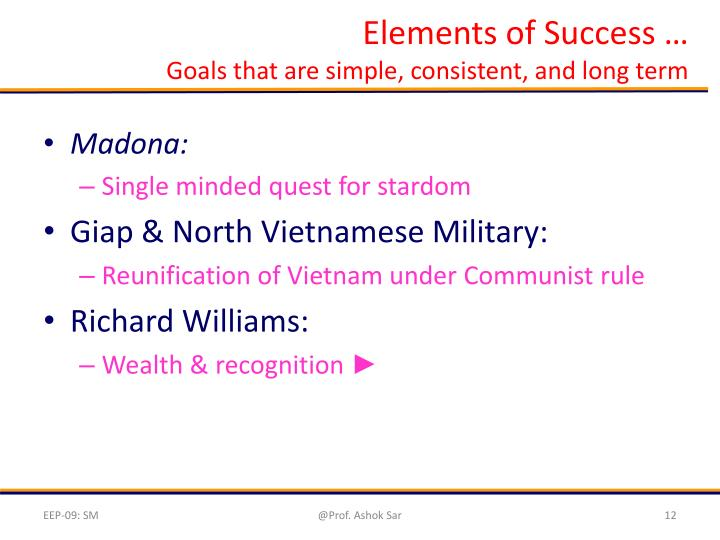 Elements of Success …