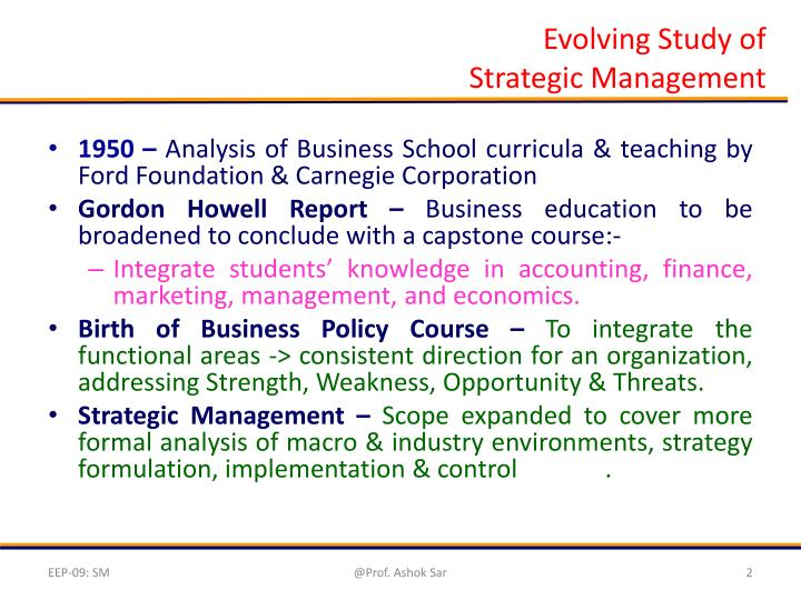 Evolving study of strategic management
