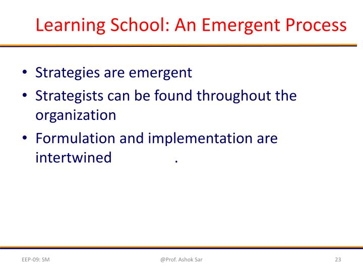 Learning School: An Emergent Process