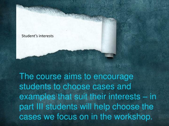 Student's interests