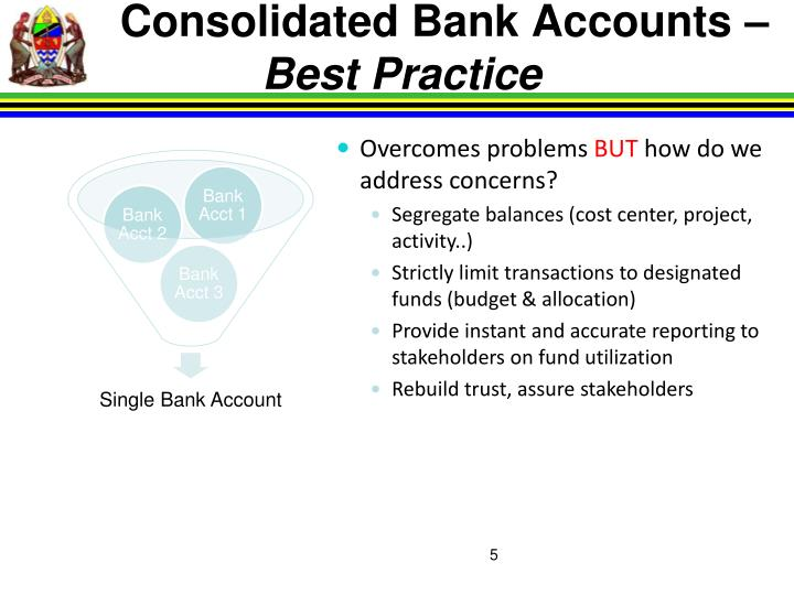 Consolidated Bank Accounts –