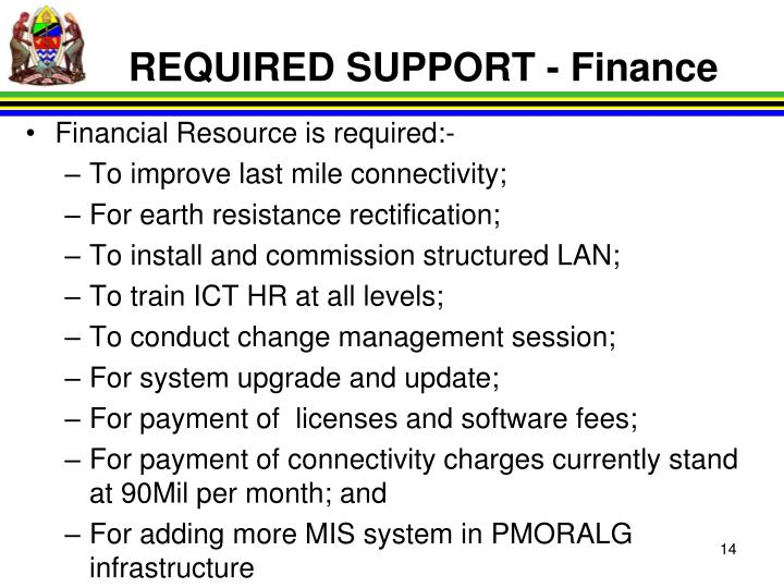 REQUIRED SUPPORT - Finance