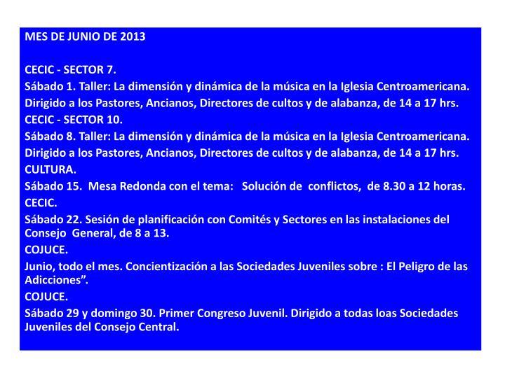 MES DE JUNIO DE 2013