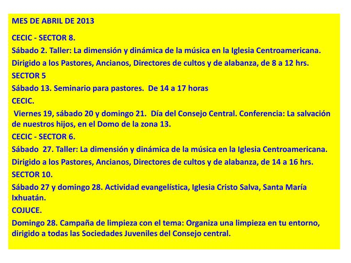 MES DE ABRIL DE 2013