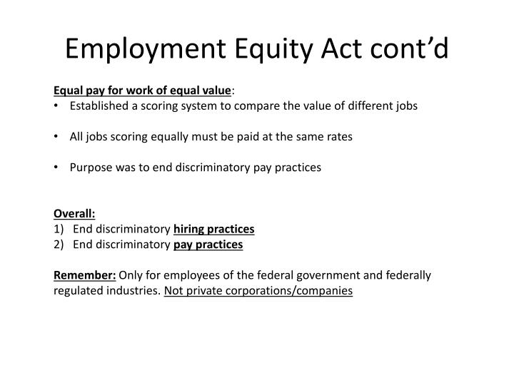 Employment Equity Act cont'd