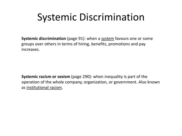 Systemic Discrimination