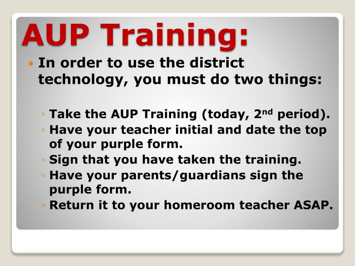 In order to use the district technology, you must do two things: