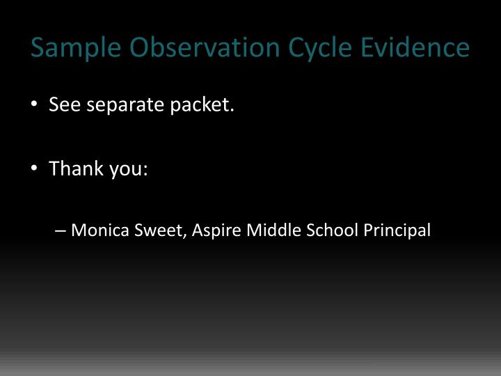 Sample Observation Cycle Evidence