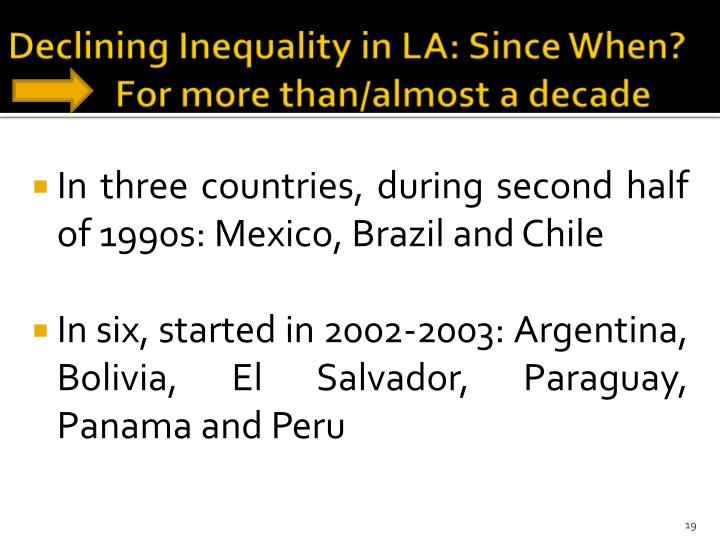 Declining Inequality in LA: Since When?