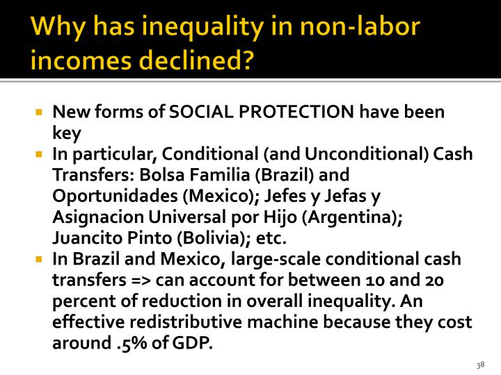 Why has inequality in non-labor incomes declined?