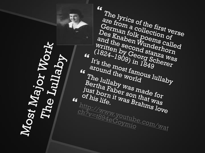 The lyrics of the first verse are from a collection of German folk poems