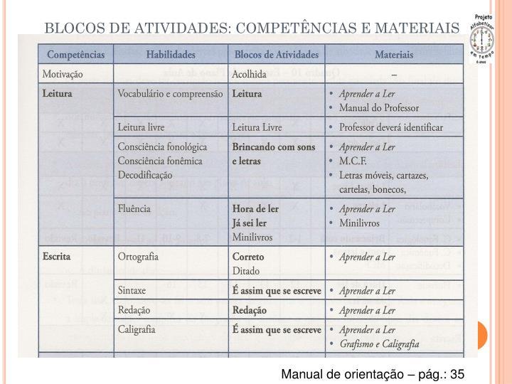 BLOCOS DE ATIVIDADES: COMPETÊNCIAS E MATERIAIS