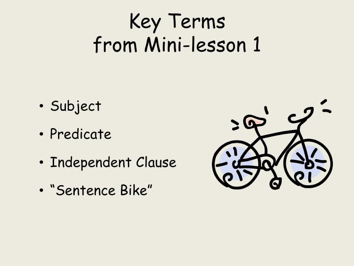 Key terms from mini lesson 1