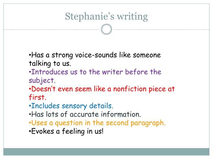 Stephanie's writing
