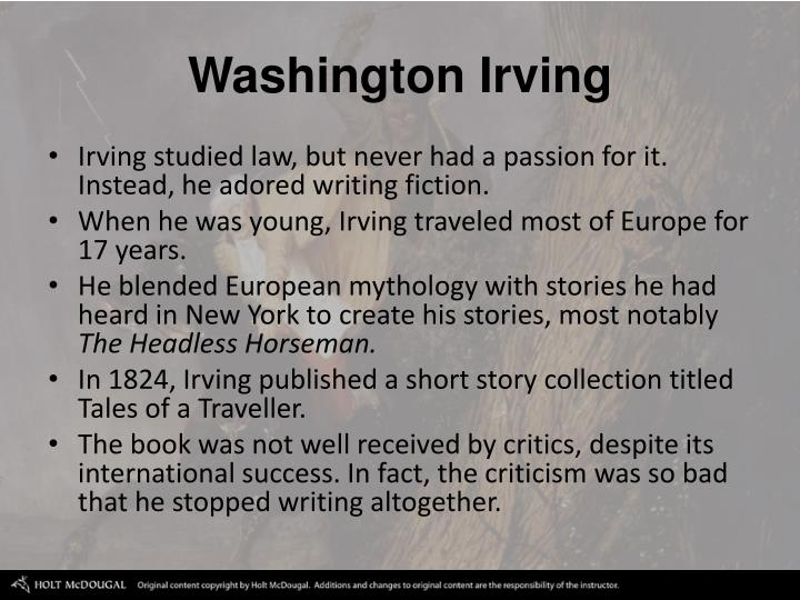 washington irving, comparison of 4 short stories essay The complete tales of washington irving has 233 ratings and 19 reviews regina  said:  prolific: his collected works fill forty volumes that encompass essays,  history, travel writings,  along with poe, good quick short stories to read when  you're in the mood for some crafty  recommend it | stats | recent status  updates.