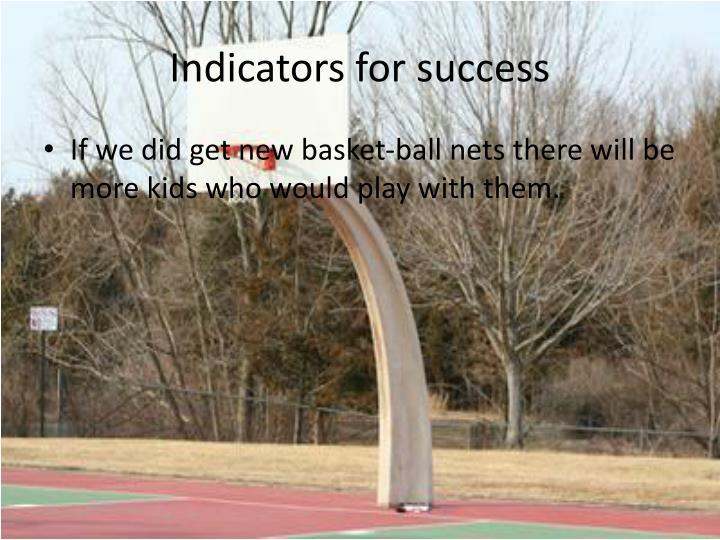 Indicators for success