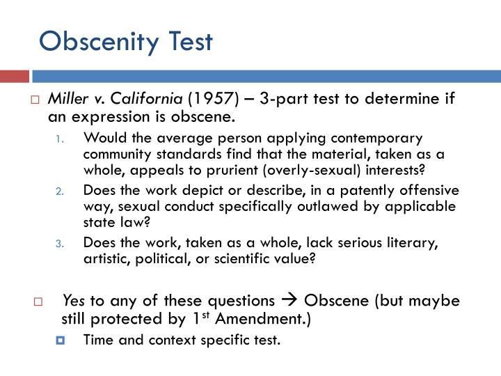 Obscenity Test