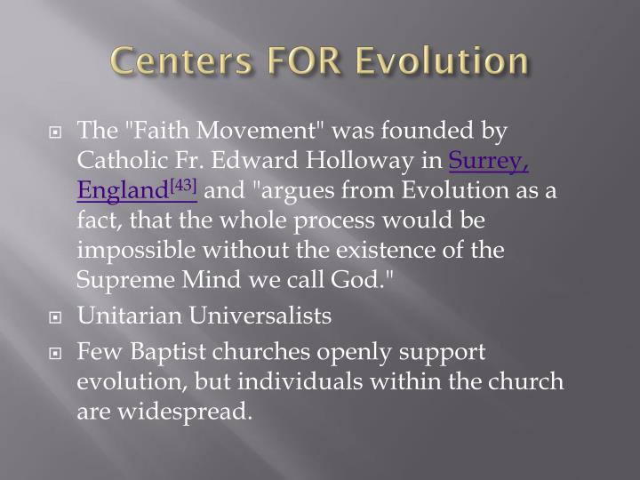 Centers FOR Evolution