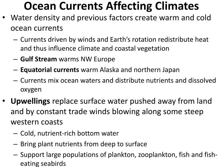 Ocean Currents Affecting Climates