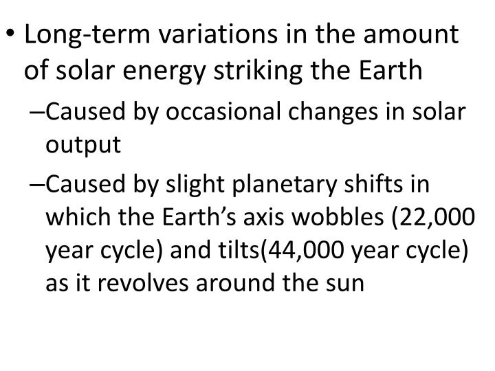 Long-term variations in the amount of solar energy striking the Earth