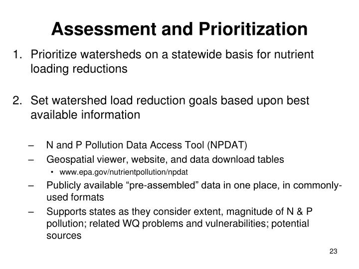 Assessment and Prioritization