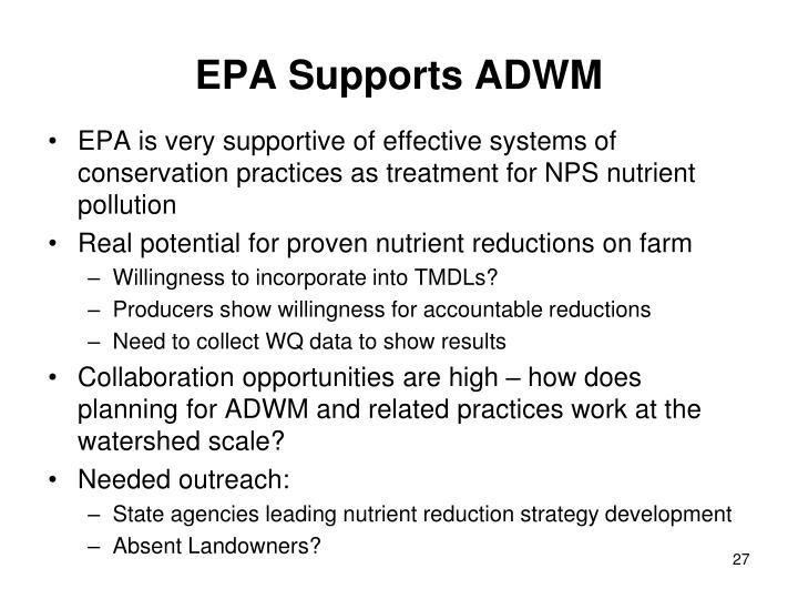 EPA Supports ADWM