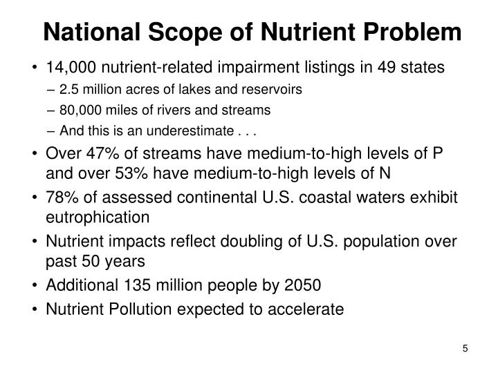 National Scope of Nutrient Problem