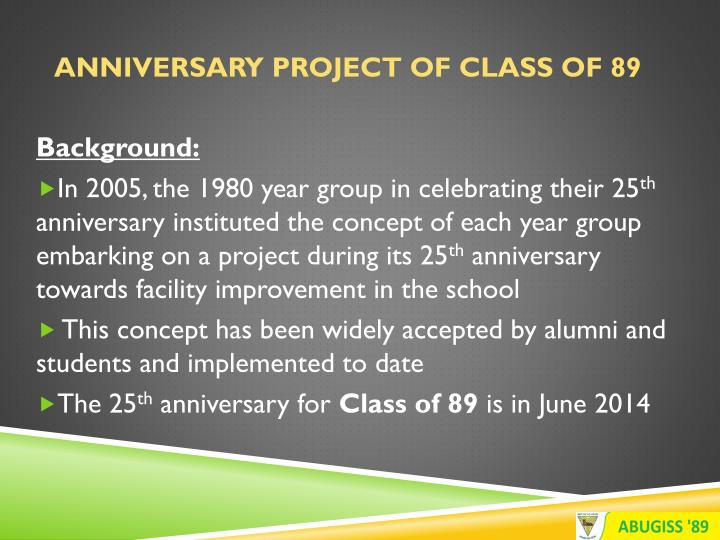 Anniversary Project of Class of 89