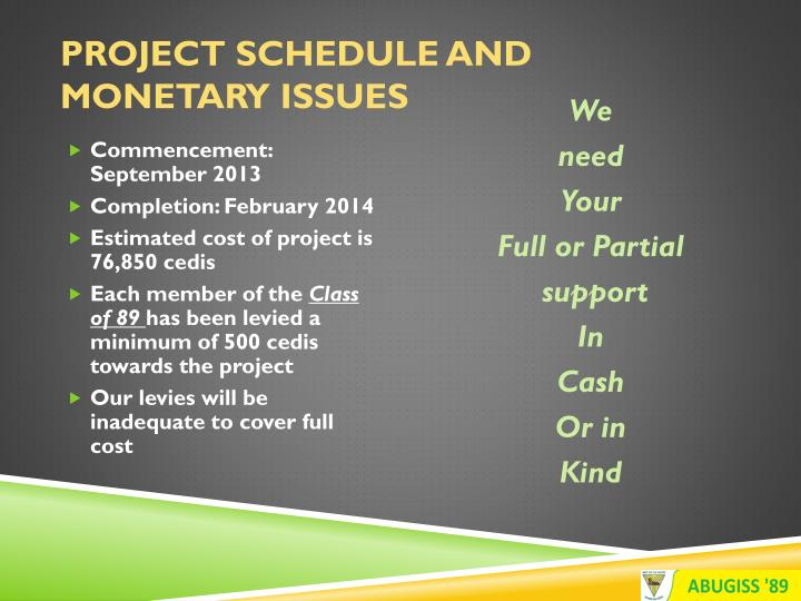 Project Schedule and Monetary Issues