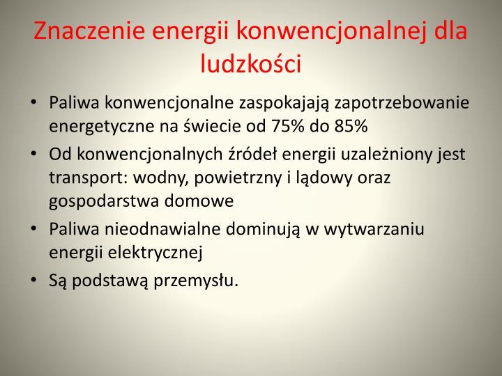 Znaczenie energii konwencjonalnej dla ludzkości