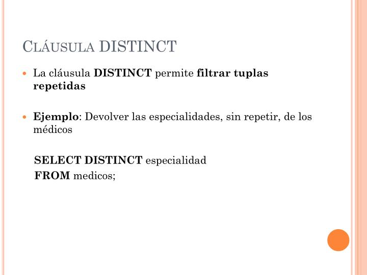 Cláusula DISTINCT