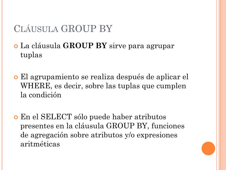 Cláusula GROUP BY