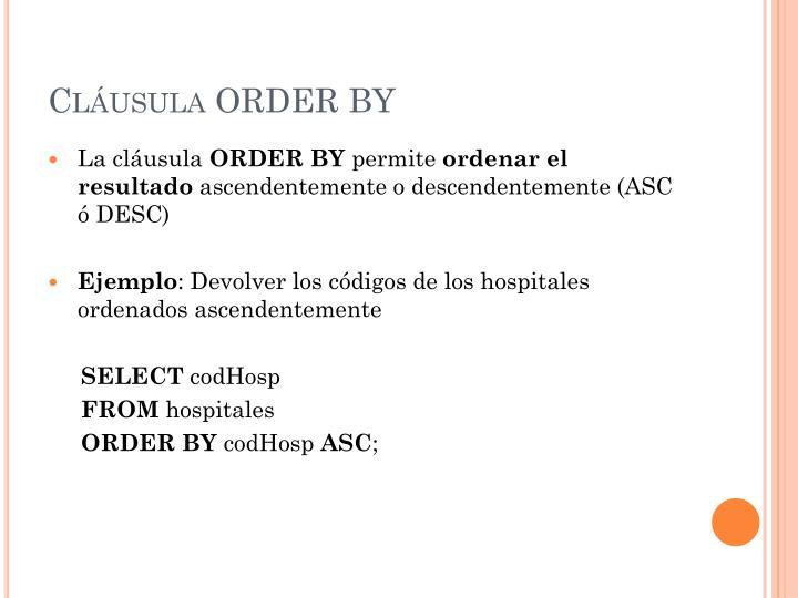 Cláusula ORDER BY