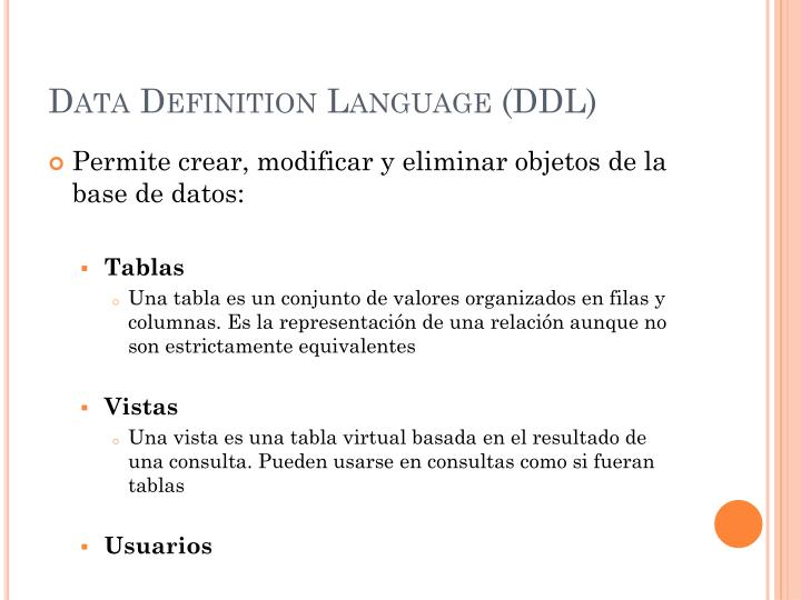 Data Definition Language (DDL)