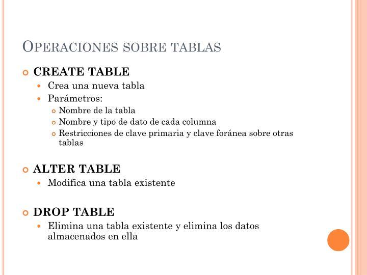 Operaciones sobre tablas