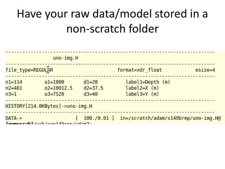 Have your raw data/model stored in a non-scratch folder