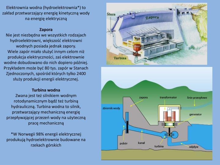Elektrownia wodna (hydroelektrownia*) to zakład przetwarzający energię kinetyczną wody na energię elektryczną