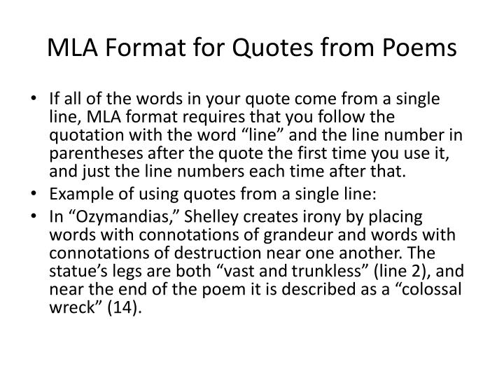 quoting poems essays mla