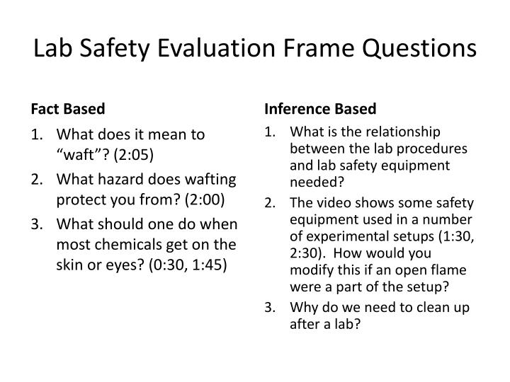 Lab safety evaluation frame questions