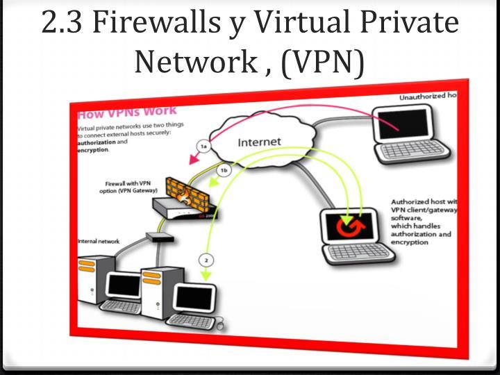 2.3 Firewalls y Virtual Private Network , (VPN)