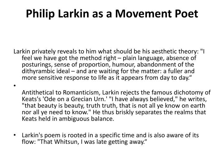 Philip Larkin and The Movement