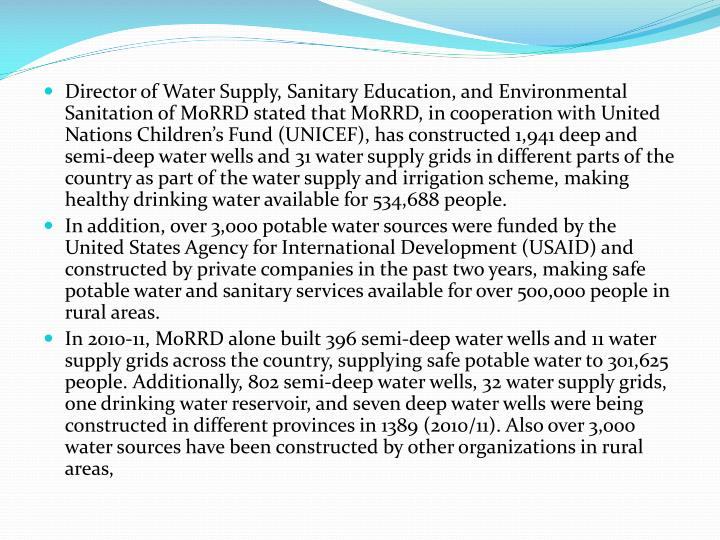 Director of Water Supply, Sanitary Education, and Environmental Sanitation of