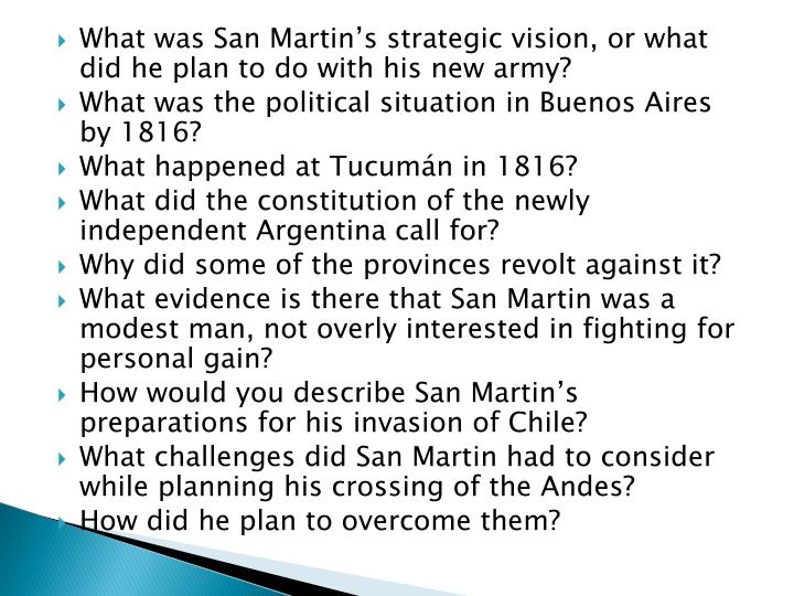 What was San Martin's strategic vision, or what did he plan to do with his new army?