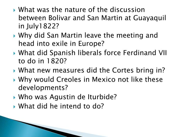 What was the nature of the discussion between Bolivar and San Martin at Guayaquil in July1822?