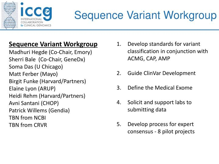 Sequence Variant Workgroup