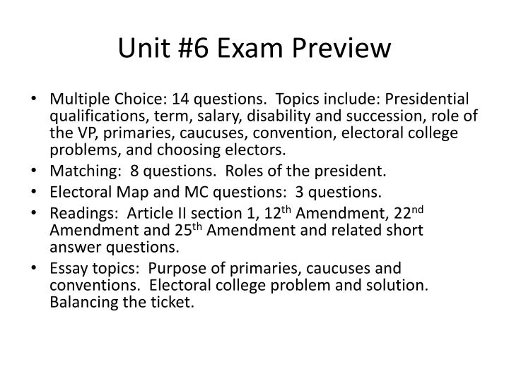Unit 6 exam preview